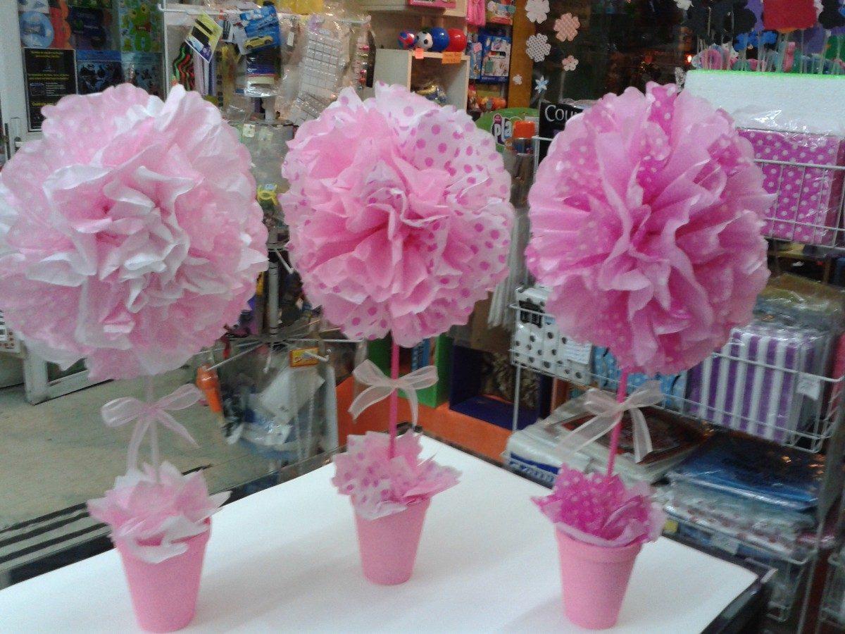 topiarios con flores en papel de seda ideal para centros de mesa