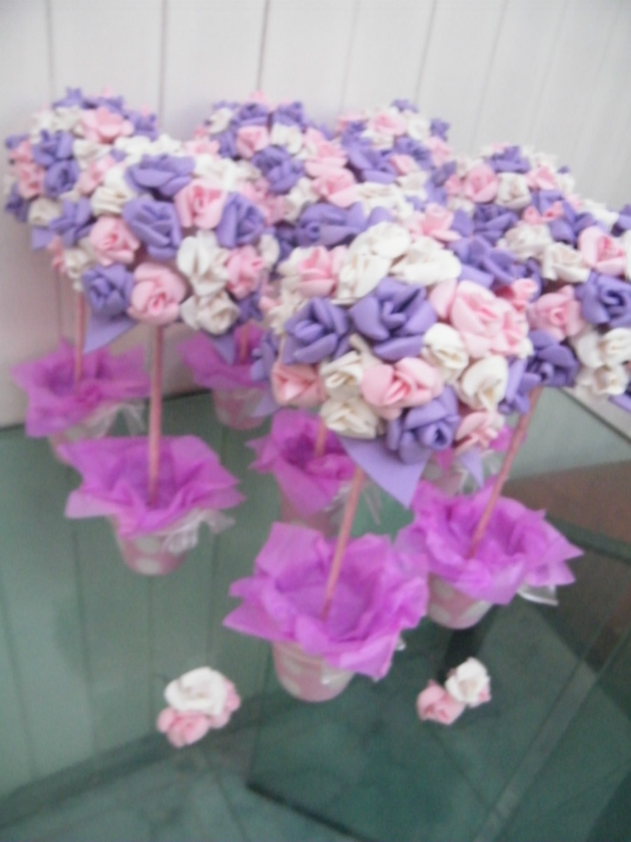 Topiarios Con Flores De Goma Eva Maceta Nro Title