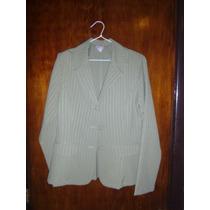 Trajes 2 Piezas Saco Pantalon Conjunto Verde Rayitas