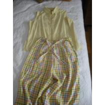 Fresco Conjunto De Pantalón Cuadrillé Y Camisa Amarilla