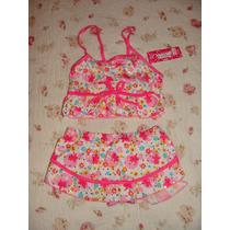 Malla Bikini Fucsia Con Flores De Colores Y Brillos
