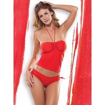 Malla Tankini Strapless Culotte Cocot 12578 T 95 Y 100 Rojo