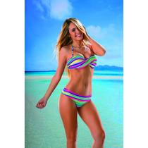 Bikini Torzada Multirayas Con Culotte Less Verano Mallas