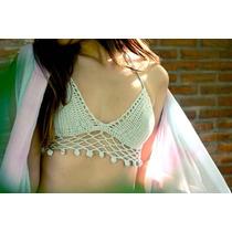 Crop Top Tejido Crochet Malla Bikini