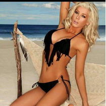 Bikini Importada Negra Con Flecos Talle L O 3 Moderna