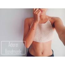 Crop Top Corpiño Tejido Al Crochet Bikini