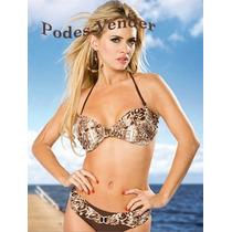 Malla Bikini Animal Print Taza Armada Talles Grandes Especia