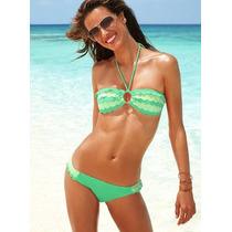 Bikini Volados Verde Y Verde Manzana -m- Victoria