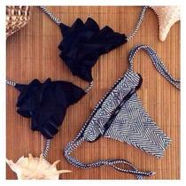 Bikini Importada Negra Con Volados, Hermosa!!