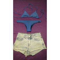 2x1 Traje De Baño Malla Bikini + Pantalon Short Jean Complot