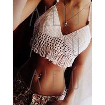 Crop Top Crochet Tejido Bikini Flecos Hippie Boho