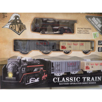 Tren A Pilas Locomotora +2 Vagones Con 10 Vias Classic Train