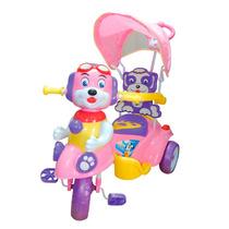 Triciclo Infantil De Bebe Carrozado Musica Manija Capota Oso