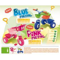 Triciclo Con Barral Y Aro Triciclo Pink Y Blue Metal Rondi