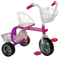 Triciclo A Pedal De Caño Respaldo Canasto Baul Rueda Maciza