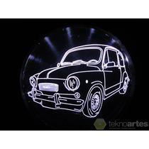 Insignia Luminosa De Fiat 600 - Grabada En Acrilico