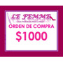 Orden De Compra En Productos Lefemme X $1000 En Local Envio