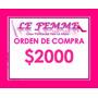 Orden De Compra En Productos Lefemme X $2000 En Local Envio