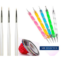 Set 3 Pinceles + 5 Dotting Tools + 10 Cintas Decoración Uñas