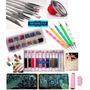 Kit 5 Pinceles+ Dotting + Stamping+ Strass+ Cintas+ Glitters