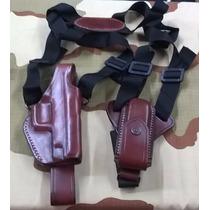 Sobaquera P/ Pistola De Cuero C/ Porta Cargador Simple