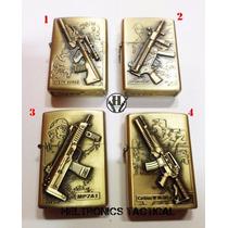 Encendedor A Bencina Dorado Con Fusiles Varios Modelos!
