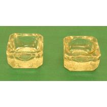 Lote 2 Antiguos Y Hermosos Saleritos Cuadrados Cristal Olivo