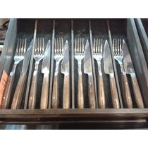 Juego De Cubiertos -cuchillos Asado 6 Comensales Madera
