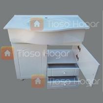 Vanitory Laqueado Blanco 80 Cm Cajones Patas Cebolla + Bacha