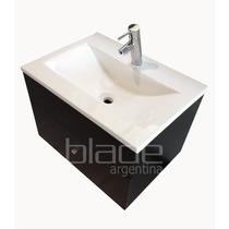 Vanitory Colgante Color Wengue C/cajon Y Bacha Blanca 62 Cm