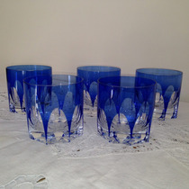 Vasos Whisky Cristal Bohemia Azul Art Deco