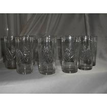 059- Juego De 9 Vasos Tallados Bebidas Tragos