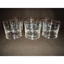 Juego 6 Vasos Whisky Borde Fileteado En Oro Impecables(453f)