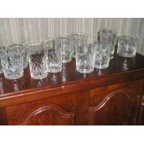 1331- Conjunto De 12 Vasos Cristal Tallado Whisky