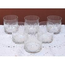 Seis Vasos De Whisky De Vidrio Tallado.