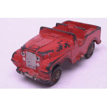 Jeep Rojo Primera Epoca Duravit Caucho Juguete Antiguo