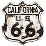 Cartel California 66 Ruta 66 Antiguo Chapa Route 27x25 C-002