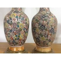 Veladores De Porcelana Y Bronce Antiguo!!!