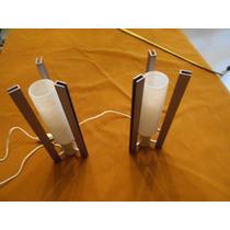 Veladores Retro En Aluminio Y Vidrio Trabajado