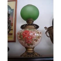 Velador/lampara De Porcelana Con Flores Y Tulipa Esmeralada