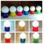 Velador Moderno Bajo Consumo Globo Vidrio Opal Base Colores