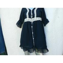 Vestido Blusa Gasa Azul Marino Oscuro Talle M