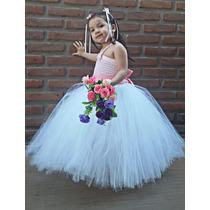 Vestido De Tul Nenas,ideal Bautismo,cortejo,cumpleaños