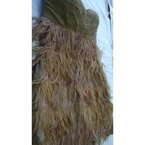 Exquisito Vestido Strapless Con Plumas - De Noche -t.s