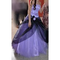 Vestido Para Quinceañera Largo + Enagua, Color Lila Y Negro