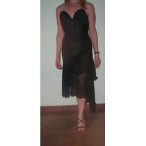 Elegante Vestido De Fiesta C/transparencia.t M