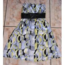 Vestido Elegante De Seda Gris Y Amarillo Straples Casi Nuev