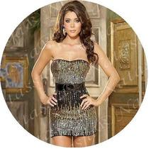 Natassja 6155 Mini Vestido Strapless De Lentejuelas