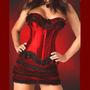 522-vestido Corset Strapless De Satin Color Rojo Muy Sexy !!