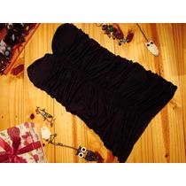 Vestido Corto Negro Strapless De Fiesta